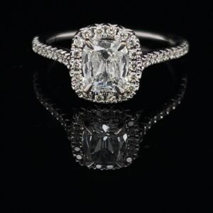 #2273-972500 18K Halo Henry Daussi Setting 0.81 ct. Cushion Cut Center Stone with 0.30ct. Band 1.11CTW.