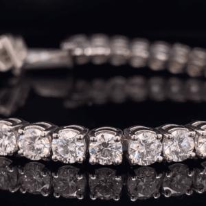 #TLG1201 14K White Gold 12.15 CTW Round Brilliant Lab Grown Tennis Bracelet G SI1