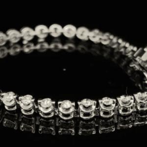#STOCKMARCH2-972000 14K WHITE GOLD BRACELET 50 DIAMONDS COLOR H CLARITY I1 1.95CTW