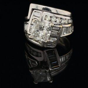 M2427-976000 1.61ct.PR 14K White Gold Engagement Ring 2.61 CTW