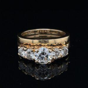#2272-972200 0.72ct. 14K Yellow Gold Engagement Ring 5 Diamonds H VS 1.47CTW