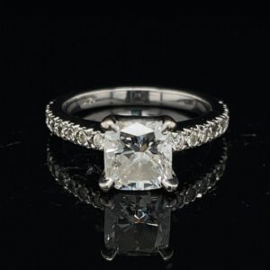 #3056-976000 14K White Gold 1.50 Cushion Engagement Ring Color G Clarity SI1 GIA