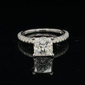 #3058-976000 18K White Gold 2.53ct. Princess Solitaire Leo Cut I VS1