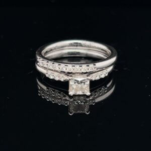 #DYR1497 0.51CT. PRINCESS 14K WHITE GOLD ENGAGEMENT RING COLOR I CLARITY VS2 AND BAND