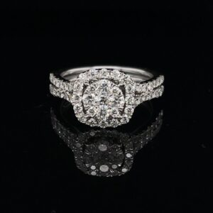 #RodJ1-972000 14K White Gold Halo Split shank Engagement Ring