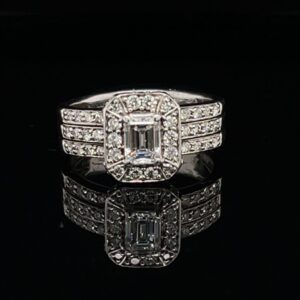 #SHANE1 0.55 CT. EMERALD WITH CLUSTER DIAMONDS ENGAGEMENT RING COLOR H CLARITY SI1