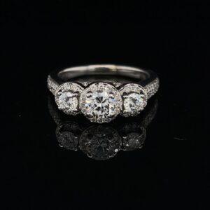 #SROD52 14K White Gold 3 Stone Engagement Ring