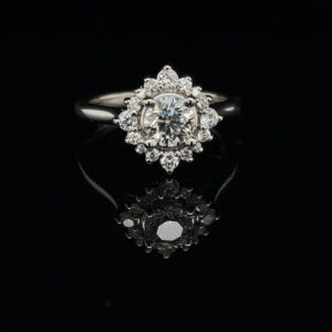 #STOCK-6466 1.0CTW HALO 14K WHITE GOLD ENGAGEMENT RING COLOR H CLARITY SI1 LAB-CREATED