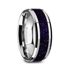 MAKI Men's Beveled Tungsten Polished Finish Wedding Ring with Purple Goldstone Inlay - 8mm