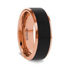 HAYDEN Rose Gold Plated Tungsten Polished Beveled Ring with Brushed Black Center - 8mm