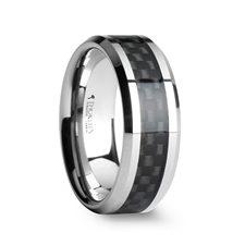 MAXIMUS Black Carbon Fiber Inlay Tungsten Carbide Wedding Band - 4mm - 12mm
