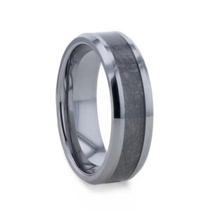 CELESTIAL Flat Tungsten Carbide Ring with Beveled Edges and Meteorite Inlay Thorsten - 8mm
