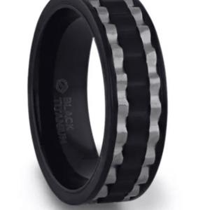 GEAR Two Toned Wavy Centered Brushed Black Titanium Men's Wedding Band With Flat Polished Edges - 8mm